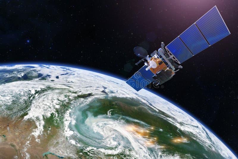 Satellit über den Erdmaßen Abfragung, Forschung, Untersuchung, Überwachung von den FokusWaldbränden markiert durch Ausbrüche, Rau stockbilder