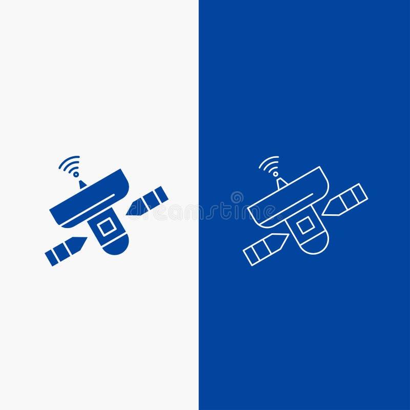 satellit, antenn, radar, utrymme, knapp för rengöringsduk för signallinje och skårai det vertikala banret för blå färg för UI och vektor illustrationer