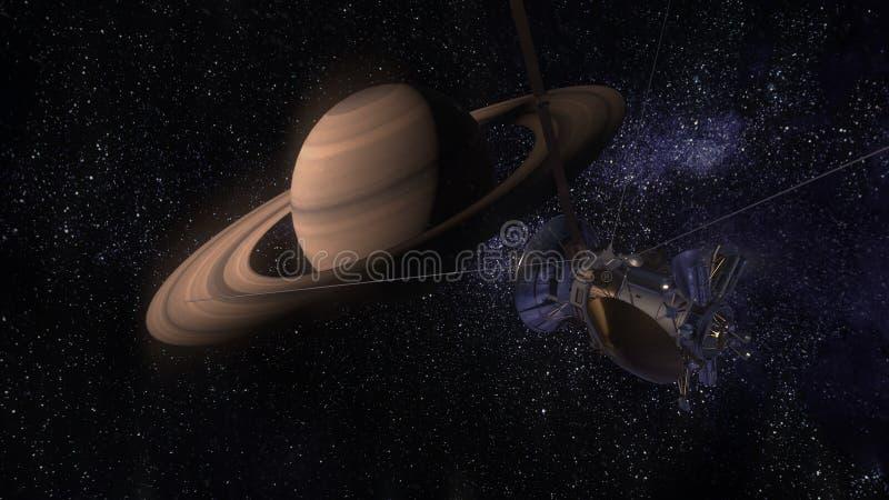Satellit- Cassini att närma sig Saturn Cassini Huygens är ett obemannat rymdskepp som överförs till planeten Saturn Cg-animering stock illustrationer