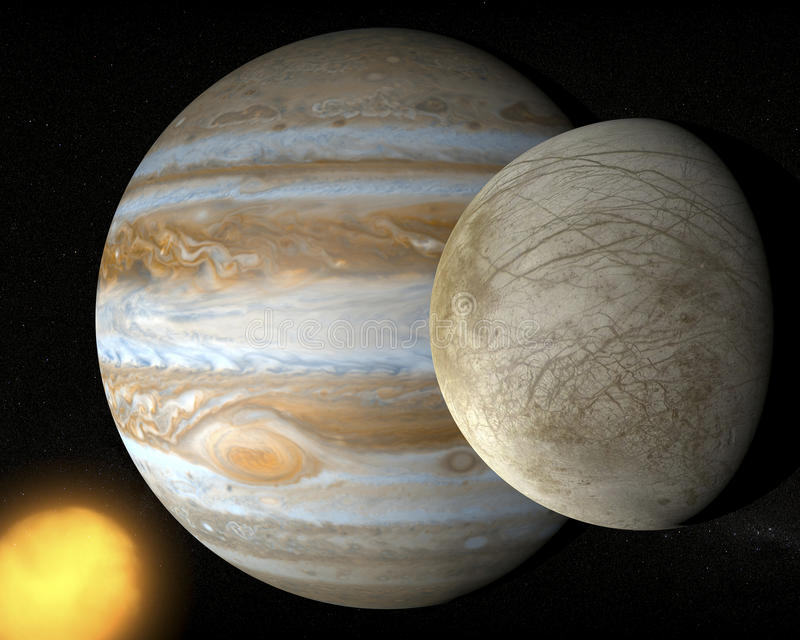 Satellit- Europa, Jupiter måne royaltyfri illustrationer