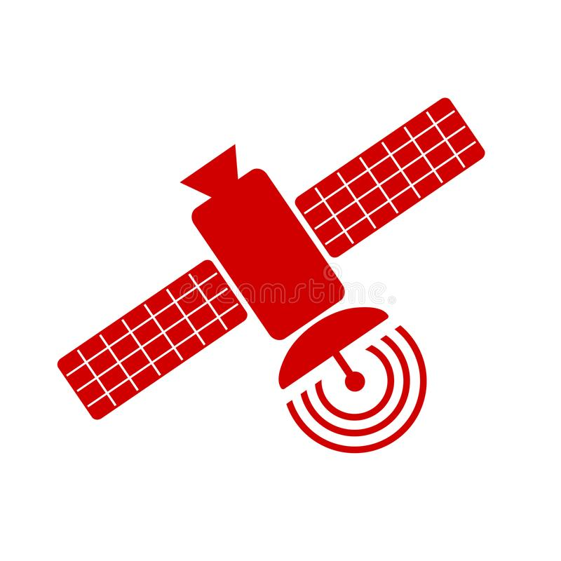 Satellit- fast symbol, navigering och kommunikation, plant tecken stock illustrationer