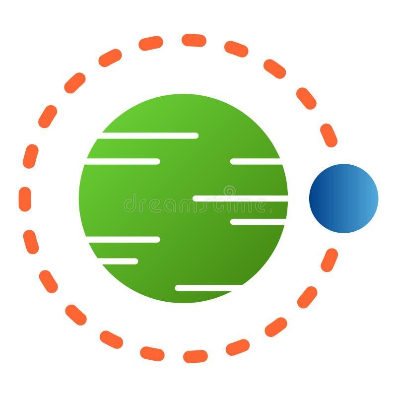 Satellit- flyg ovanf?r plan symbol f?r planet Kosmosf?rgsymboler i moderiktig plan stil Design f?r astronomilutningstil stock illustrationer