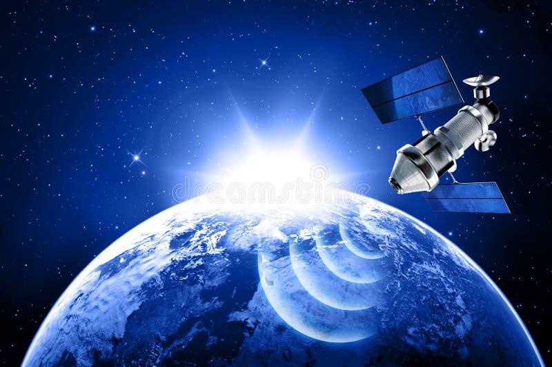 Satellit i utrymme stock illustrationer