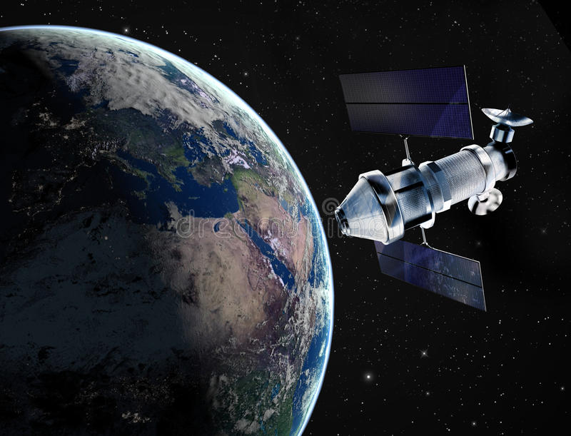 Satellit i utrymme vektor illustrationer