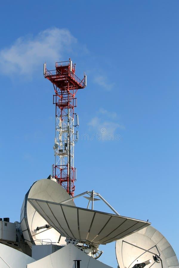 Satellit- Kommunikationer För Parabolantenn Fotografering för Bildbyråer