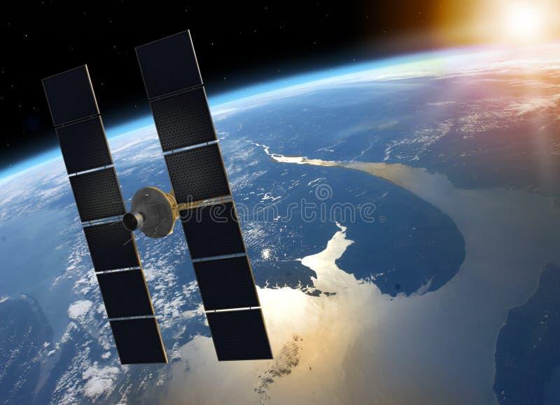 Satellit- kretsa kring planetjord för utrymme arkivfoto