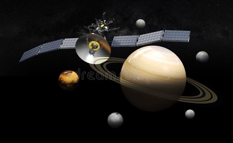 Satellit- kretsa kring saturn illustration 3d, på svart bakgrund stock illustrationer