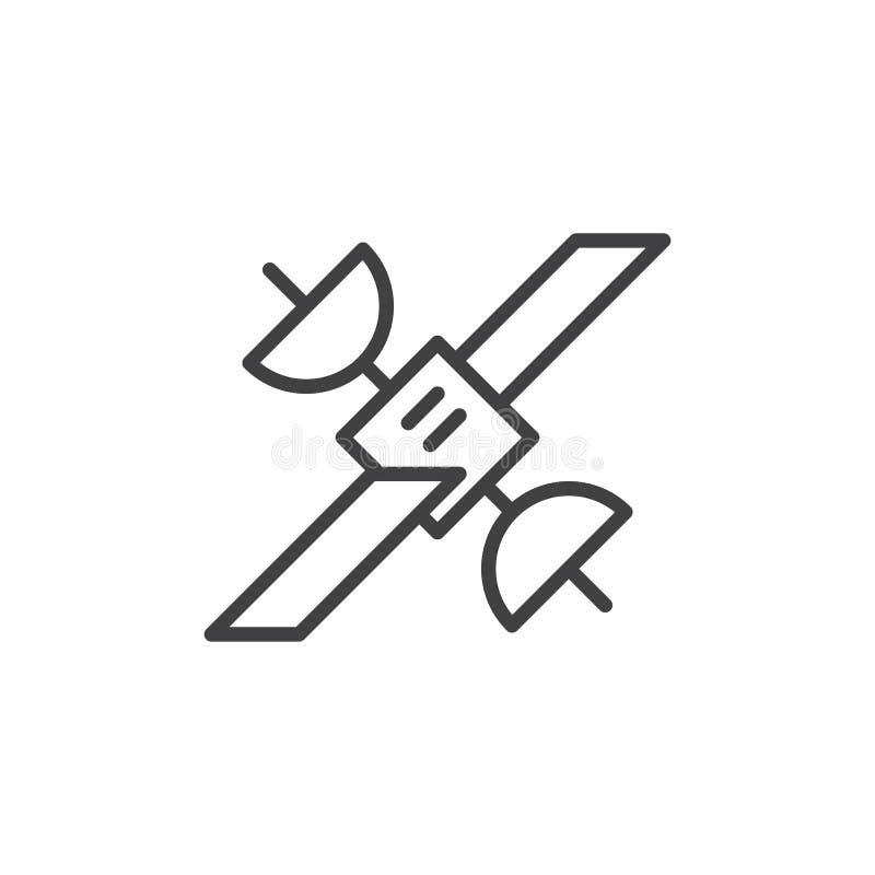 Satellit- linje symbol, översiktsvektortecken stock illustrationer