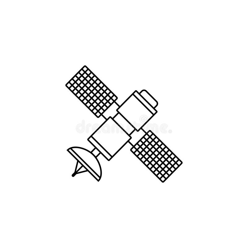 Satellit- linje symbol, navigering och kommunikation stock illustrationer