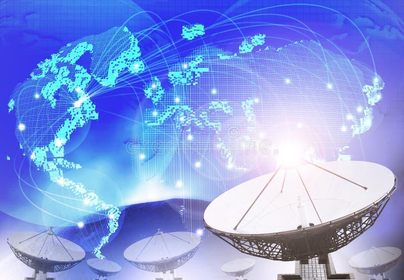 Satellit- maträtt med blått tema av världsförbindande teknologi oss vektor illustrationer