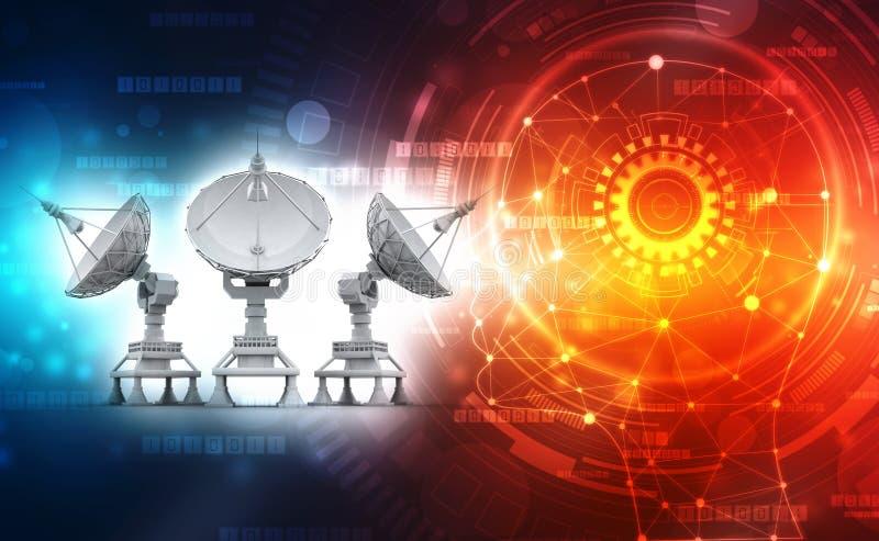Satellit- maträtt på teknologibakgrund global kommunikation vektor illustrationer