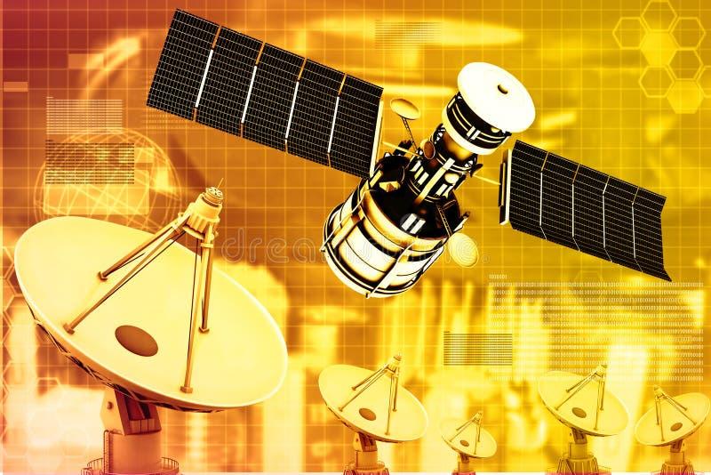 Satellit med maträttantenner stock illustrationer