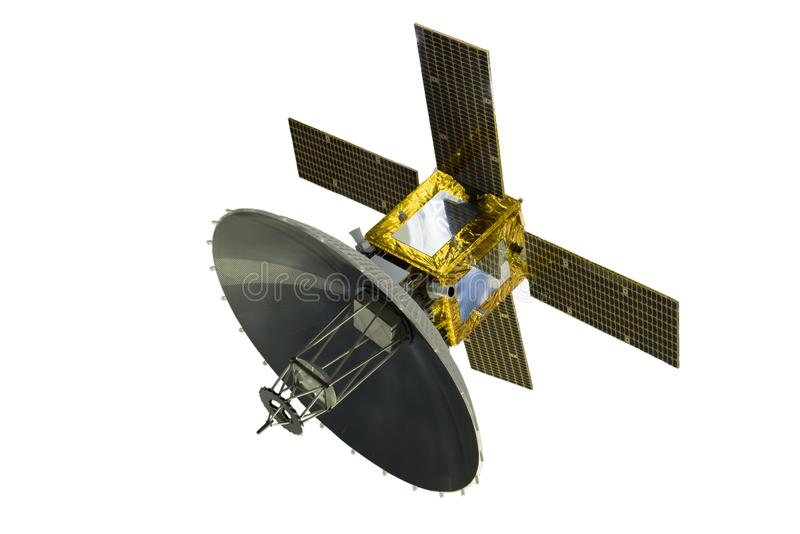 Satellit med solpaneler som isoleras på vit bakgrund royaltyfri bild