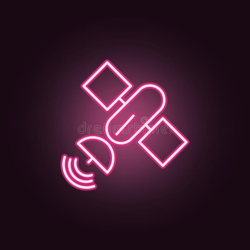satellit- neonsymbol Best?ndsdelar av utrymmeupps?ttningen Enkel symbol f?r websites, reng?ringsdukdesign, mobil app, information stock illustrationer