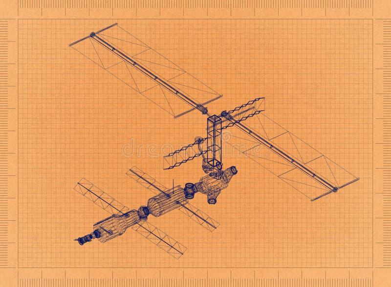 Satellit - Retro ritning royaltyfri fotografi