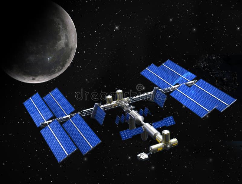 Satellit- rymdstation royaltyfri illustrationer