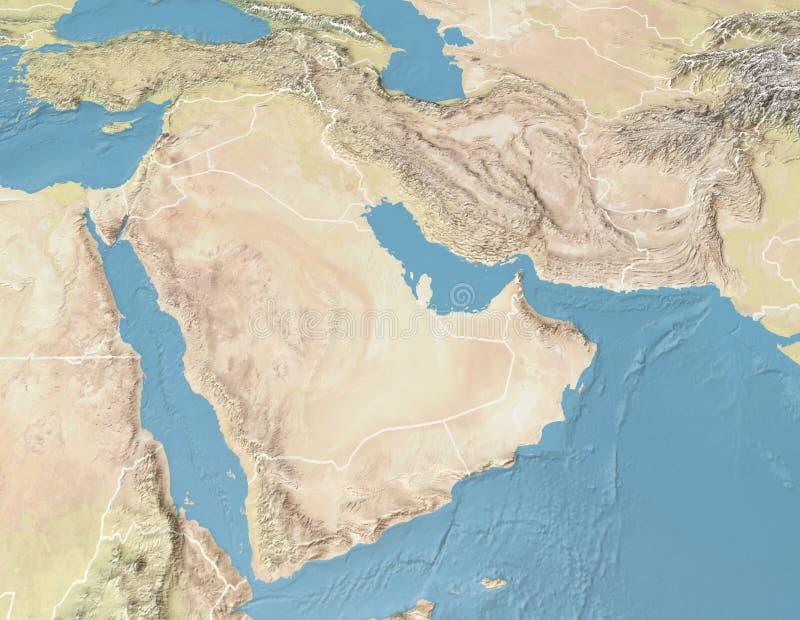 Satellit- sikt av arabiska halvön ?versikt Saudiarabien Yemen, Oman, Förenade Arabemiraten, Syrien, Iran, Irak, Qatar, Kuwait royaltyfri bild