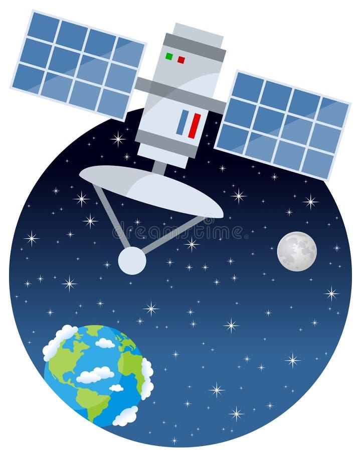 Satellit som kretsar kring i utrymmet med stjärnor royaltyfri illustrationer
