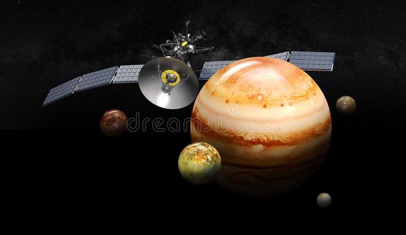 Satellit som kretsar kring jupiter illustration 3d, på svart bakgrund stock illustrationer