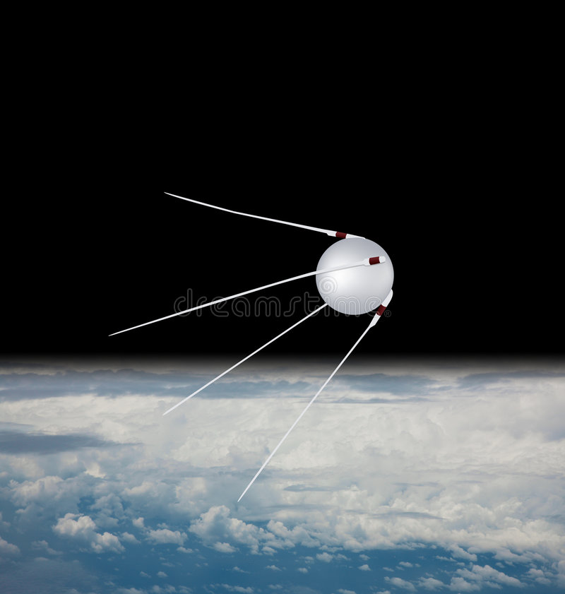 satellit sputnik royaltyfri illustrationer