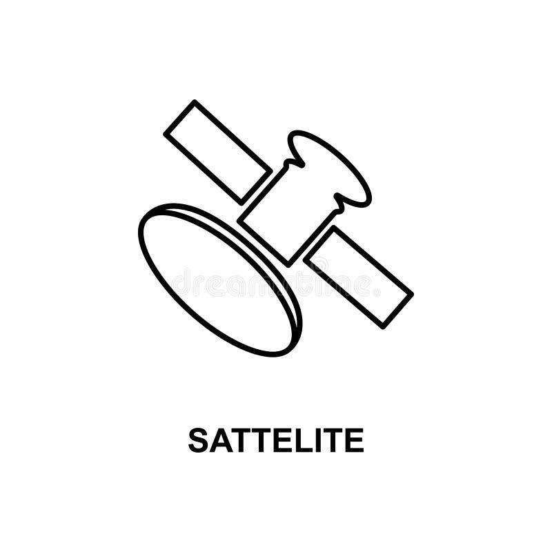 Satellit- symbol Beståndsdel av teknologisymbolen med namnet för mobila begrepps- och rengöringsdukapps Den tunna linjen satellit stock illustrationer