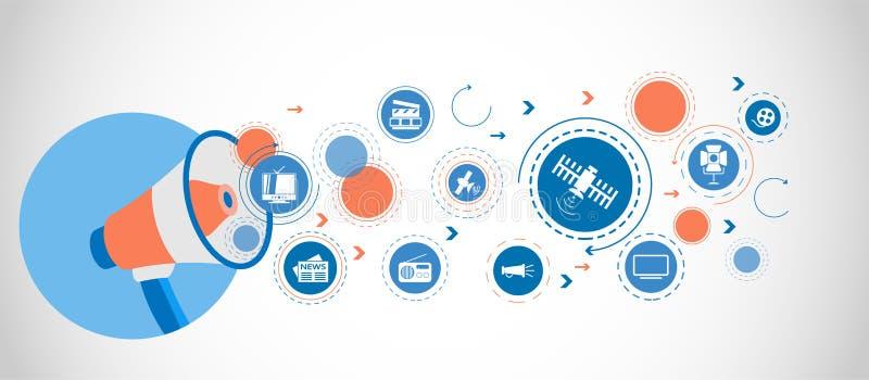 Satellit- symbol Detaljerade uppsättningsymboler av massmediabeståndsdelsymbolen Högvärdig kvalitets- grafisk design En av samlin stock illustrationer