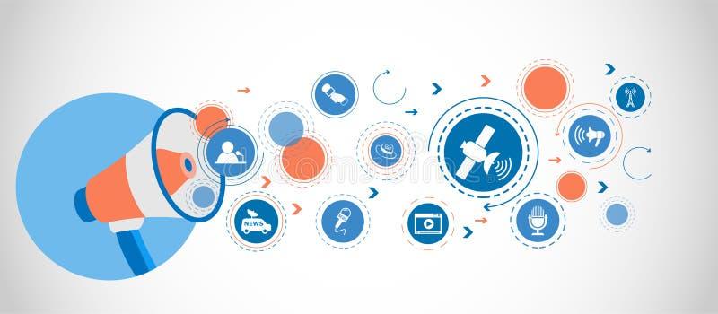 Satellit- symbol Detaljerade uppsättningsymboler av massmediabeståndsdelsymbolen Högvärdig kvalitets- grafisk design En av samlin royaltyfri illustrationer