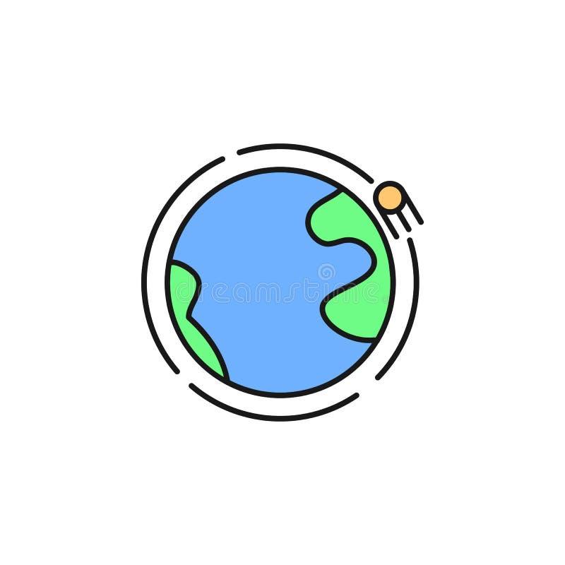 satellit- symbol för jordens omloppsbana Beståndsdel av symbolen för utrymmeöversiktsfärg Tunn linje symbol för websitedesignen o stock illustrationer