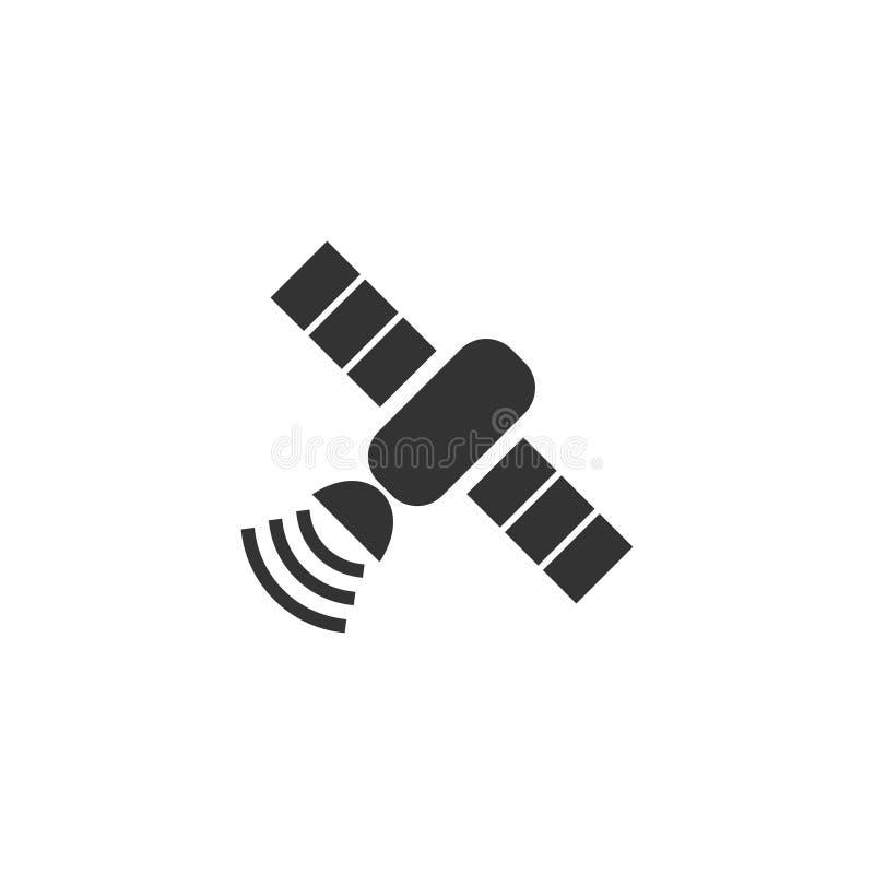 Satellit- symbolslägenhet royaltyfri illustrationer