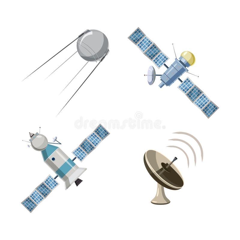 Satellit- symbolsuppsättning, tecknad filmstil stock illustrationer