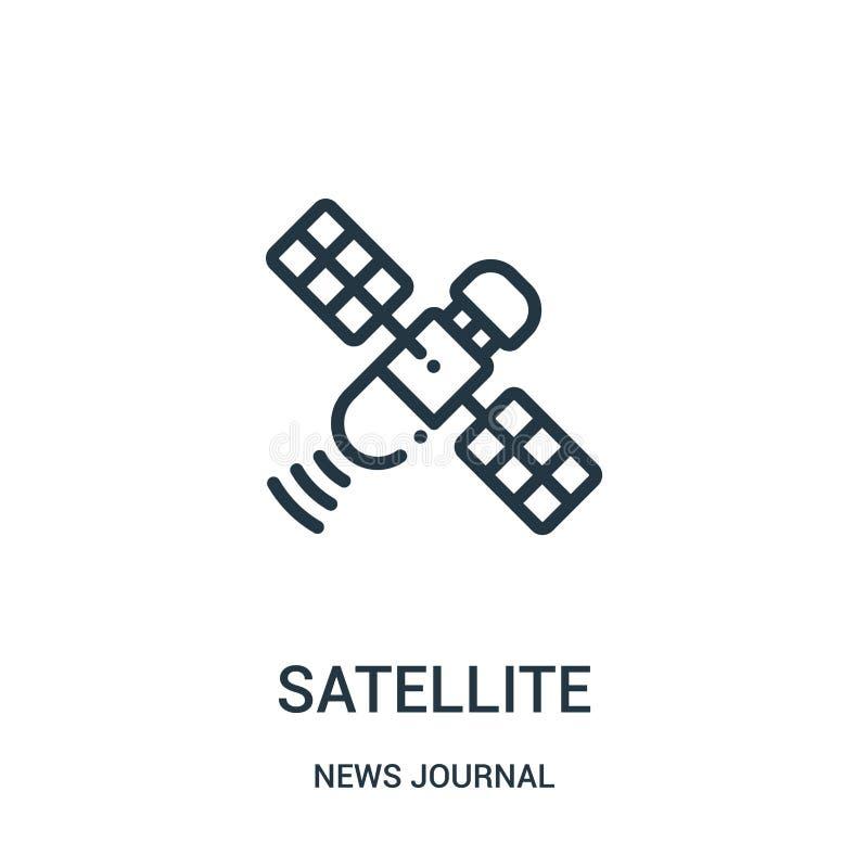 satellit- symbolsvektor från nyheternatidskriftssamling Tunn linje satellit- illustration för översiktssymbolsvektor Linjärt symb royaltyfri illustrationer