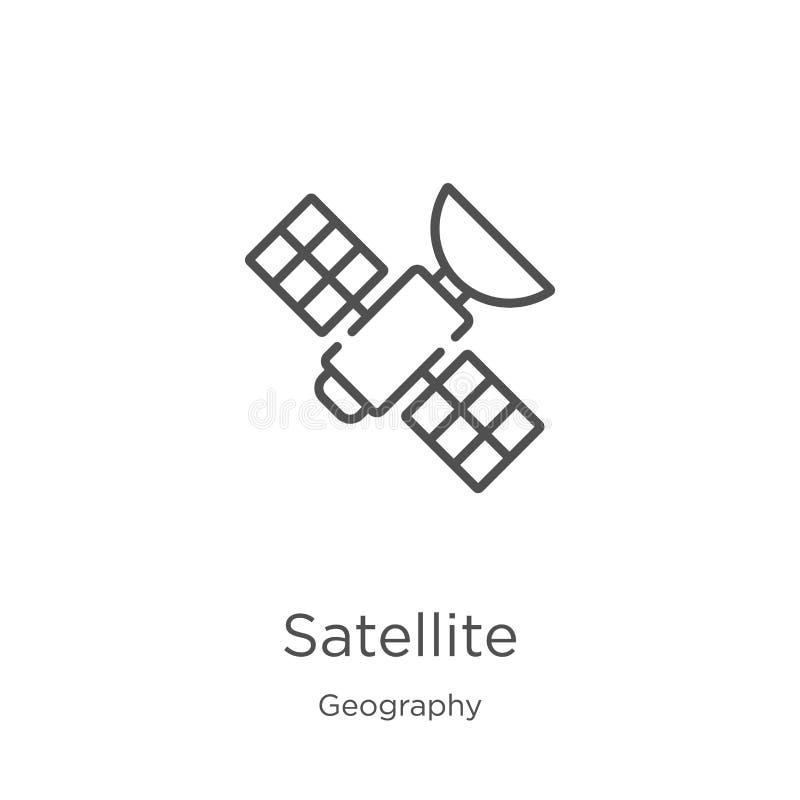 satellit- symbolsvektor fr?n geografisamling Tunn linje satellit- illustration f?r ?versiktssymbolsvektor ?versikt tunn linje stock illustrationer