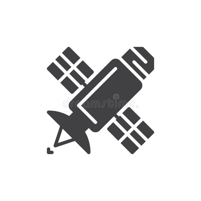 Satellit- symbolsvektor, fyllt plant tecken, fast pictogram som isoleras på vit stock illustrationer