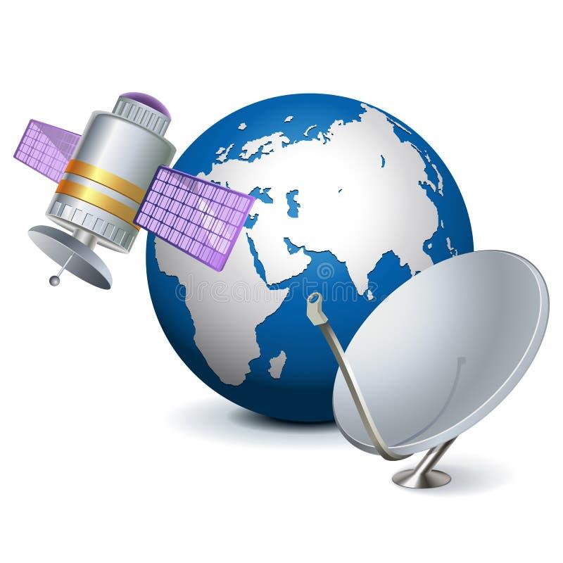 Satellit- teknologibegrepp för vektor stock illustrationer