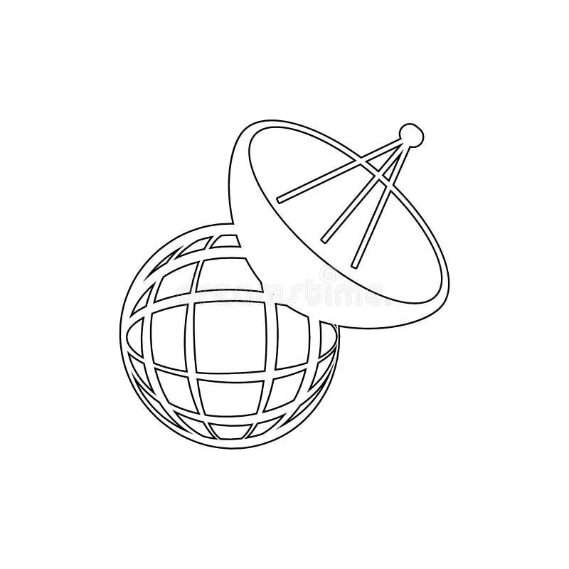 Satellit- teknologibegreppssymbol Beståndsdel av massmedia för mobil begrepps- och rengöringsdukappsillustration Gör linjen symbo vektor illustrationer