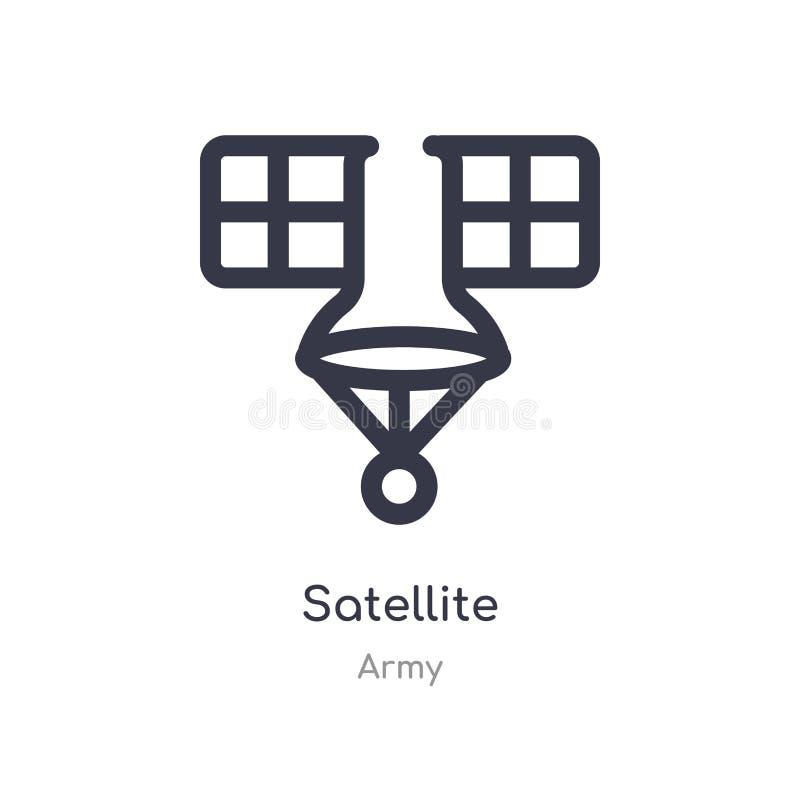 Satellit- ?versiktssymbol isolerad linje vektorillustration fr?n arm?samling satellit- symbol för redigerbar tunn slaglängd på vi stock illustrationer