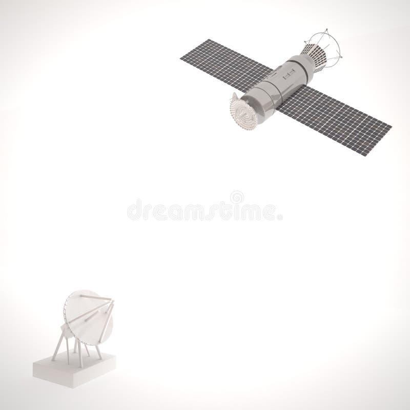 Satellite and antenna over white royalty free illustration