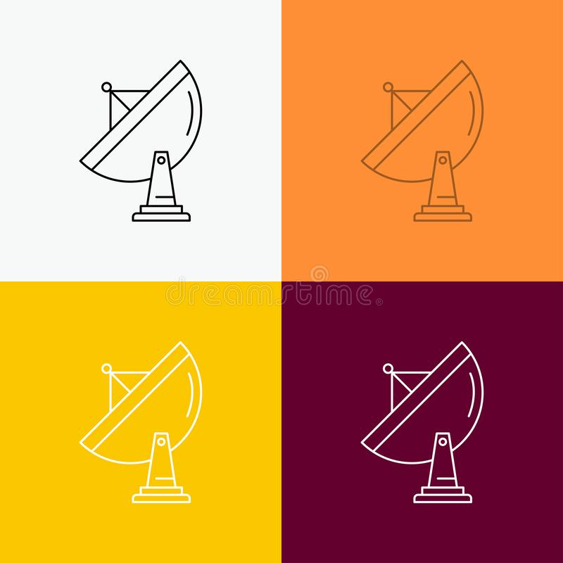 satellite, antenna, radar, space, dish Icon Over Various Background. Line style design, designed for web and app. Eps 10 vector vector illustration