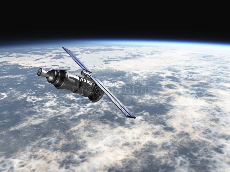 Satellite in atmosfera di terre illustrazione di stock