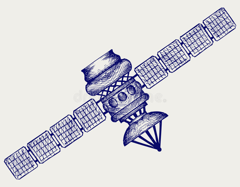 Satellite avec l'antenne parabolique illustration stock