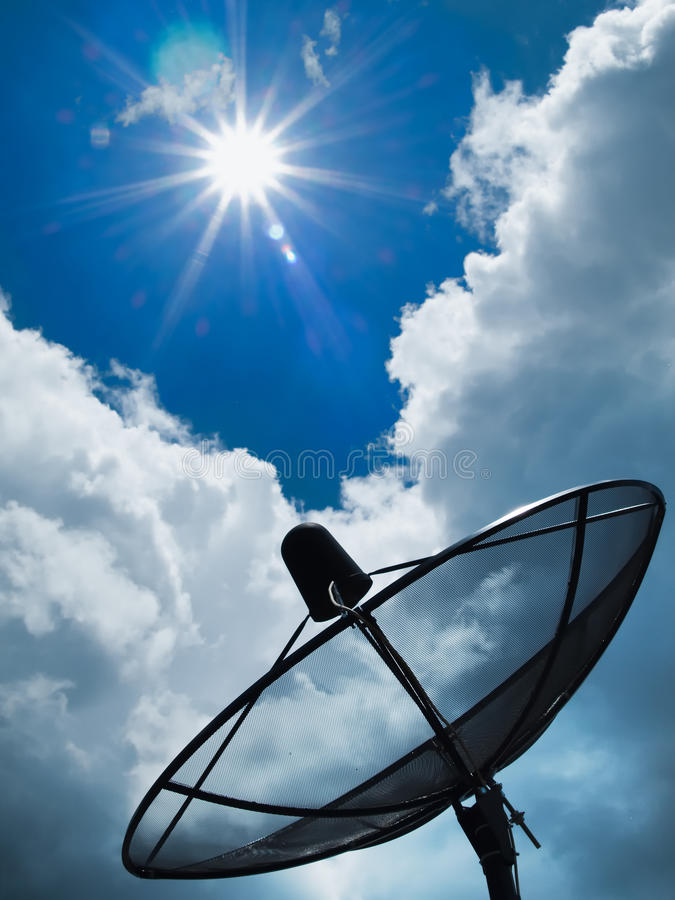 Satellite Blue Sky And Sun Stock Photo