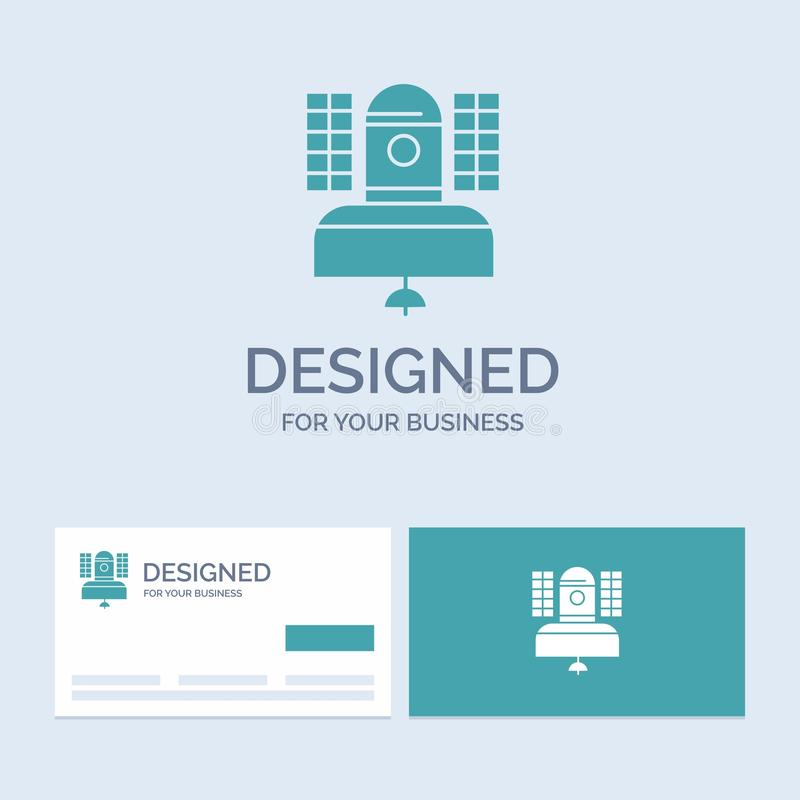 Satellite, broadcast, broadcasting, communication, telecommunication Business Logo Glyph Icon Symbol for your business. Turquoise. Business Cards with Brand stock illustration