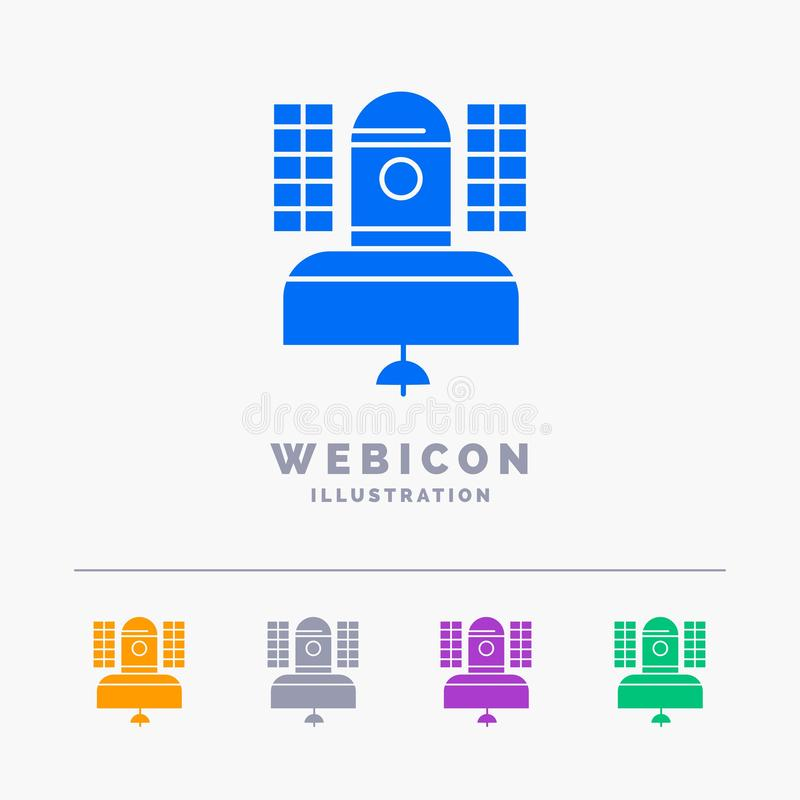 Satellite, broadcast, broadcasting, communication, telecommunication 5 Color Glyph Web Icon Template isolated on white. Vector. Illustration. Vector EPS10 stock illustration