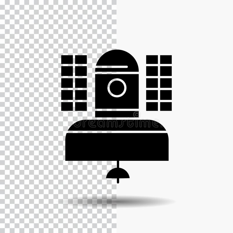 Satellite, broadcast, broadcasting, communication, telecommunication Glyph Icon on Transparent Background. Black Icon. Vector EPS10 Abstract Template royalty free illustration