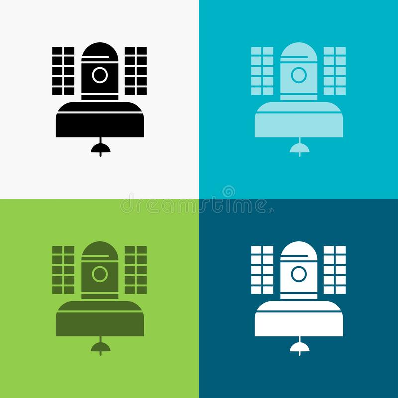 Satellite, broadcast, broadcasting, communication, telecommunication Icon Over Various Background. glyph style design, designed. For web and app. Eps 10 vector royalty free illustration