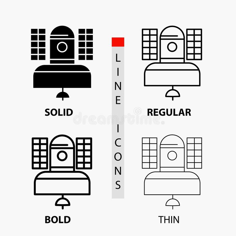 Satellite, broadcast, broadcasting, communication, telecommunication Icon in Thin, Regular, Bold Line and Glyph Style. Vector. Illustration. Vector EPS10 royalty free illustration