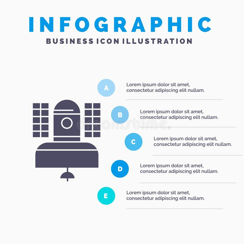 Satellite, broadcast, broadcasting, communication, telecommunication Infographics Template for Website and Presentation. GLyph. Gray icon with Blue infographic royalty free illustration
