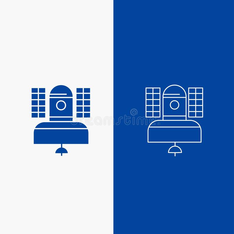Satellite, broadcast, broadcasting, communication, telecommunication Line and Glyph web Button in Blue color Vertical Banner for. UI and UX, website or mobile royalty free illustration