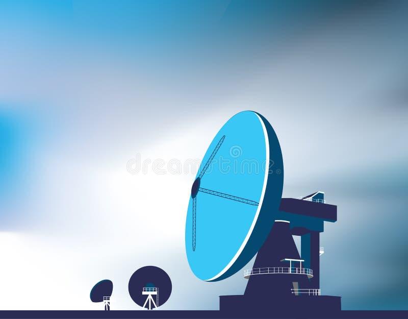 Satellite communication dishes stock illustration
