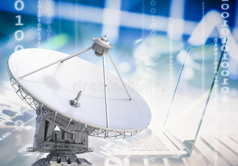 Satellite. Communication technology concept with 3d rendering satellites and notebook royalty free stock image